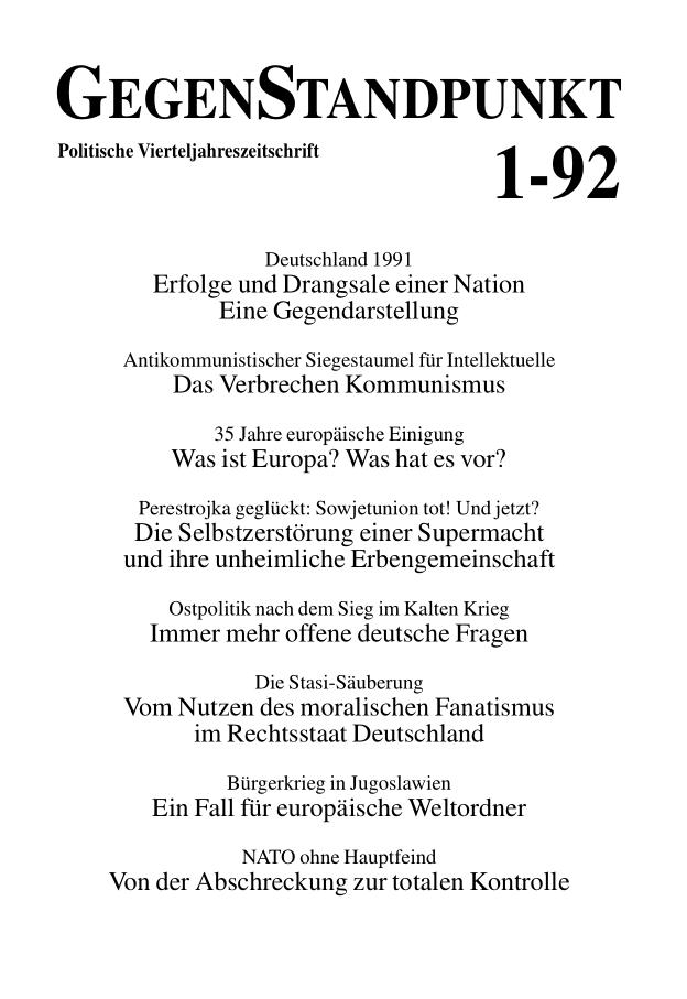 Titelblatt der Zeitschrift GegenStandpunkt 134