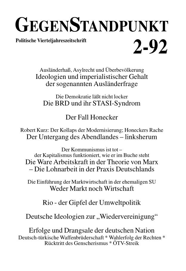 Titelblatt der Zeitschrift GegenStandpunkt 133
