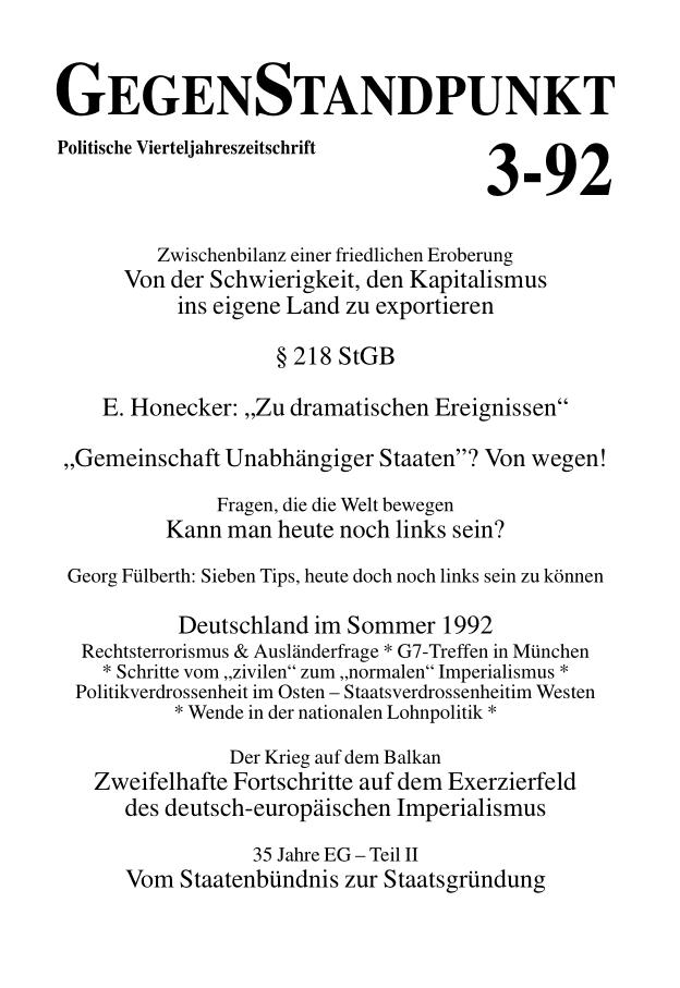 Titelblatt der Zeitschrift GegenStandpunkt 132