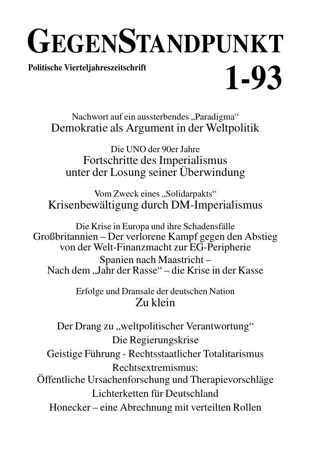 Titelblatt der Zeitschrift GegenStandpunkt 130