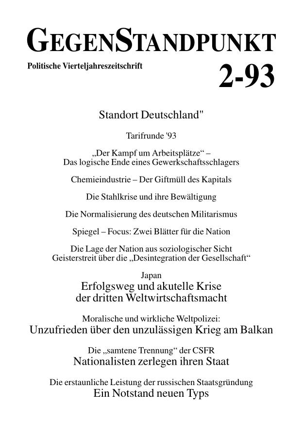 Titelblatt der Zeitschrift GegenStandpunkt 129