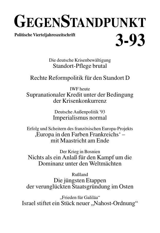 Titelblatt der Zeitschrift GegenStandpunkt 128