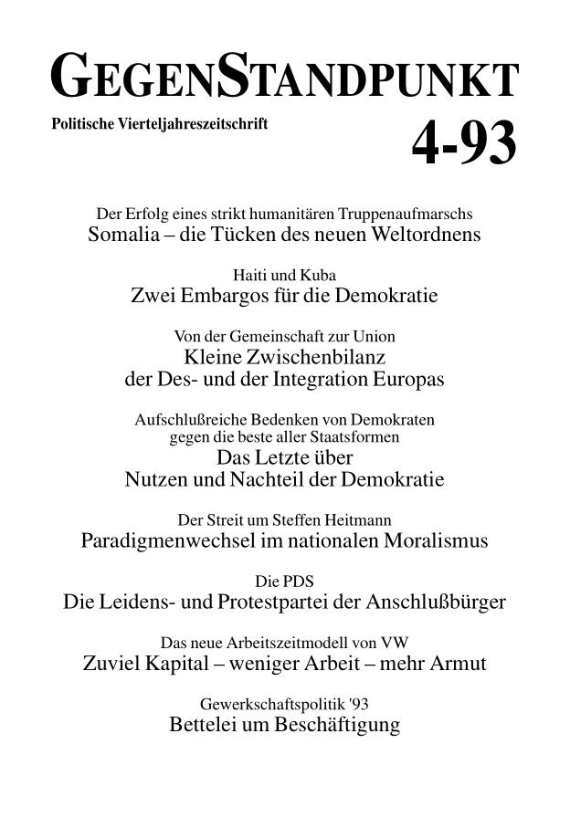 Titelblatt der Zeitschrift GegenStandpunkt 127