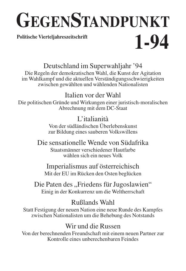 Titelblatt der Zeitschrift GegenStandpunkt 126