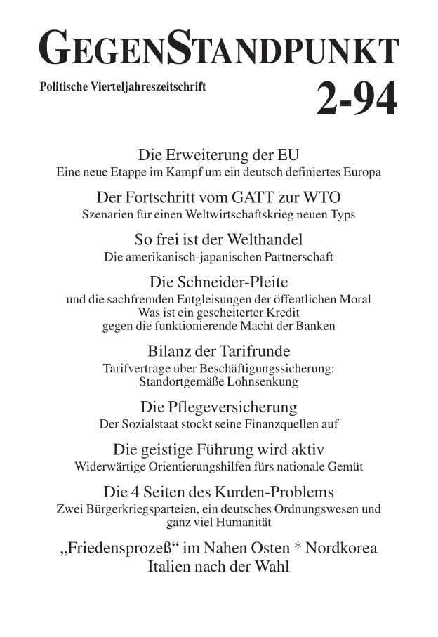 Titelblatt der Zeitschrift GegenStandpunkt 125