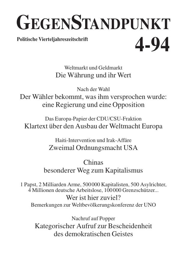 Titelblatt der Zeitschrift GegenStandpunkt 123