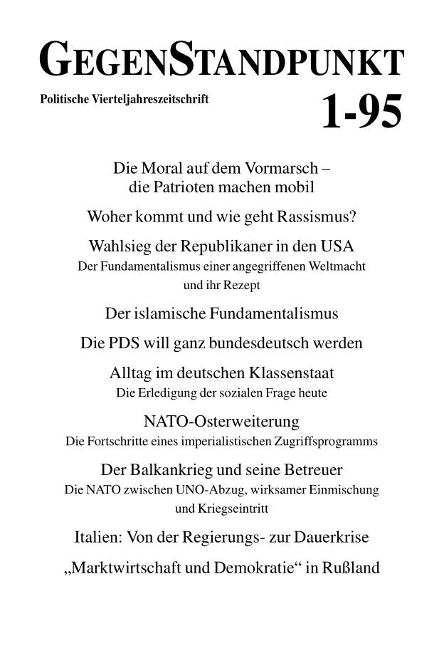 Titelblatt der Zeitschrift GegenStandpunkt 122