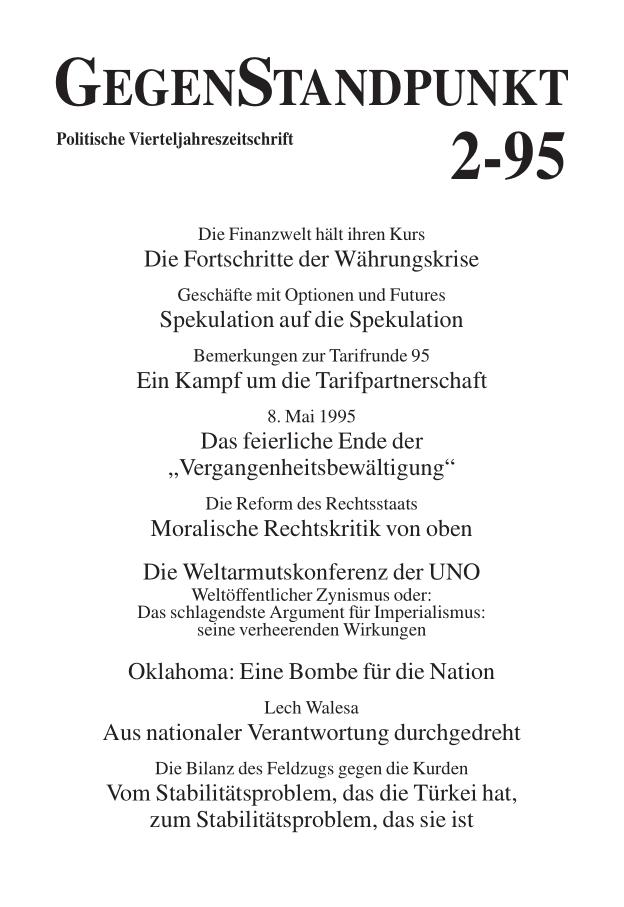 Titelblatt der Zeitschrift GegenStandpunkt 121