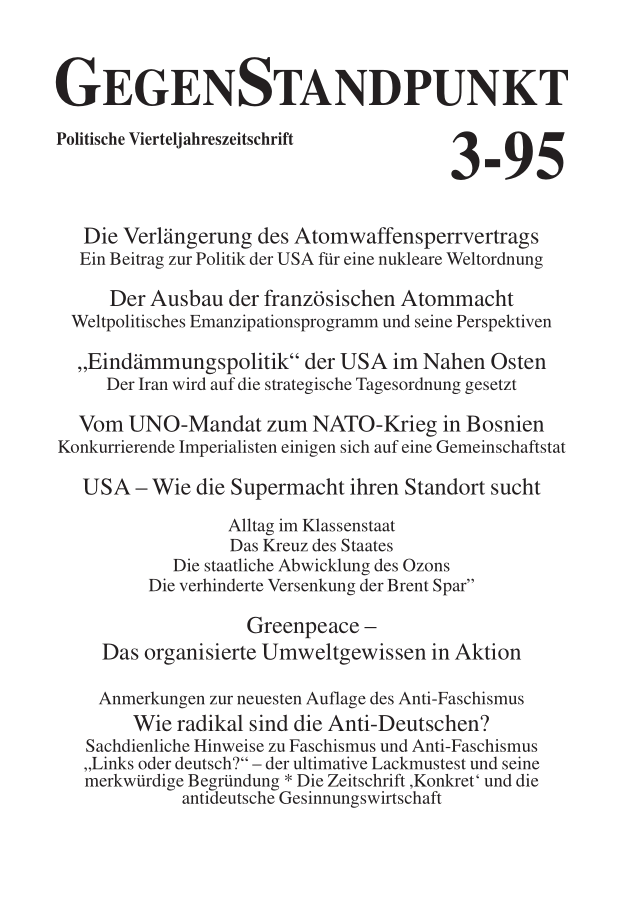 Titelblatt der Zeitschrift GegenStandpunkt 120