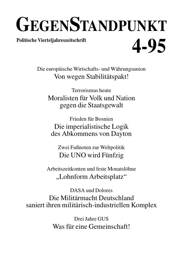 Titelblatt der Zeitschrift GegenStandpunkt 119