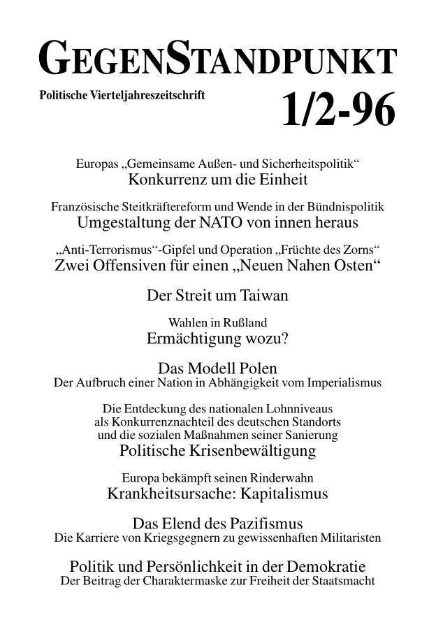Titelblatt der Zeitschrift GegenStandpunkt 118