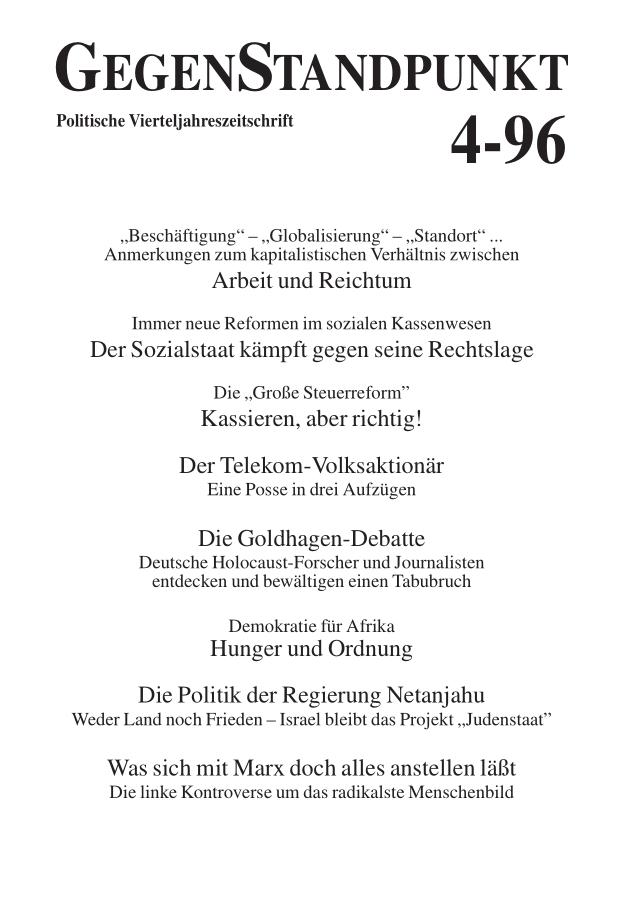Titelblatt der Zeitschrift GegenStandpunkt 116