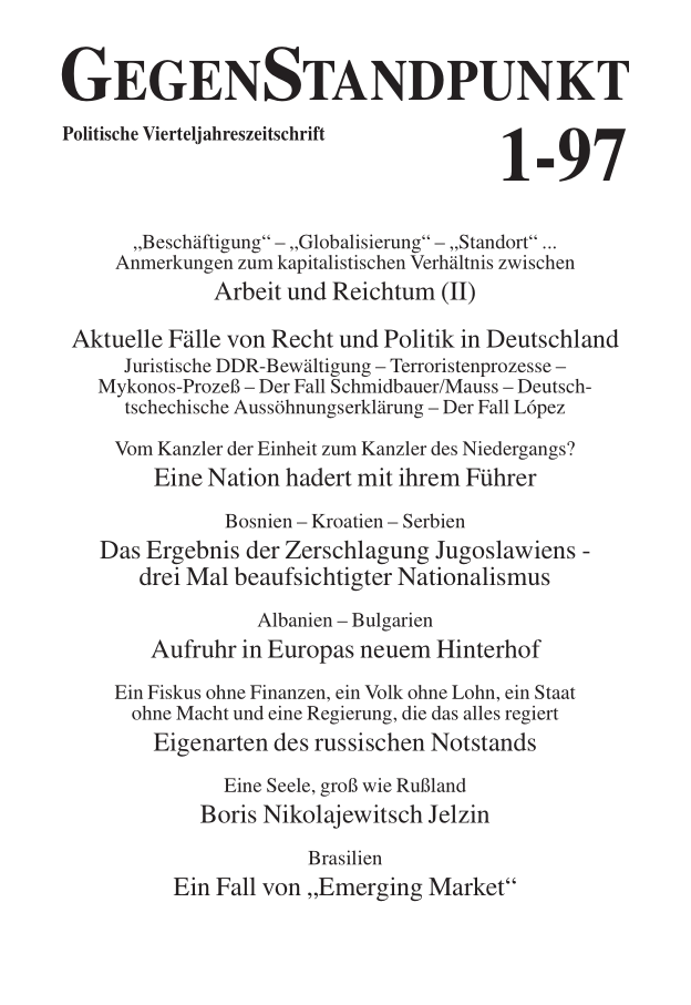Titelblatt der Zeitschrift GegenStandpunkt 115