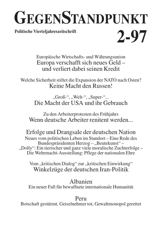 Titelblatt der Zeitschrift GegenStandpunkt 114