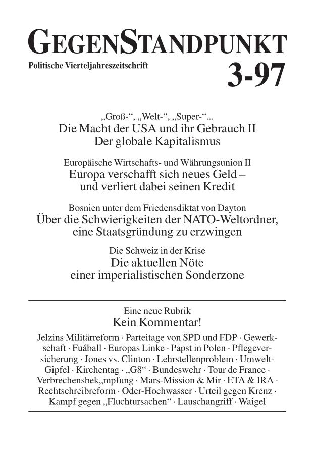 Titelblatt der Zeitschrift GegenStandpunkt 113