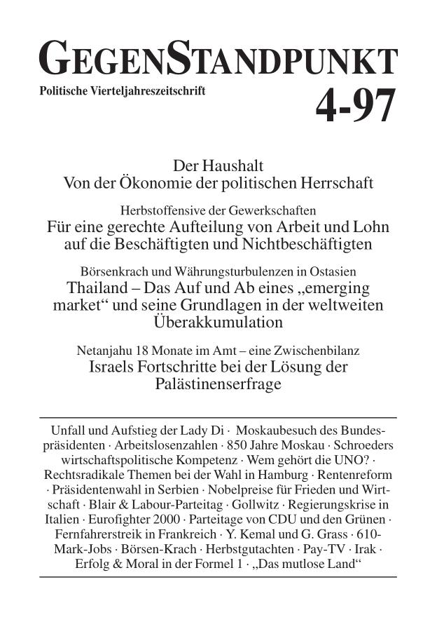Titelblatt der Zeitschrift GegenStandpunkt 112