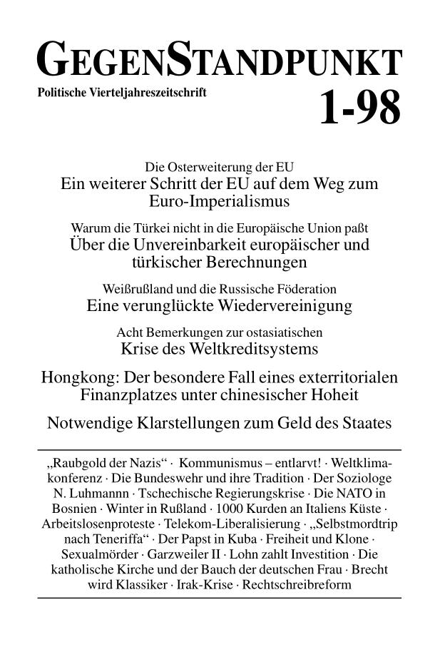 Titelblatt der Zeitschrift GegenStandpunkt 111