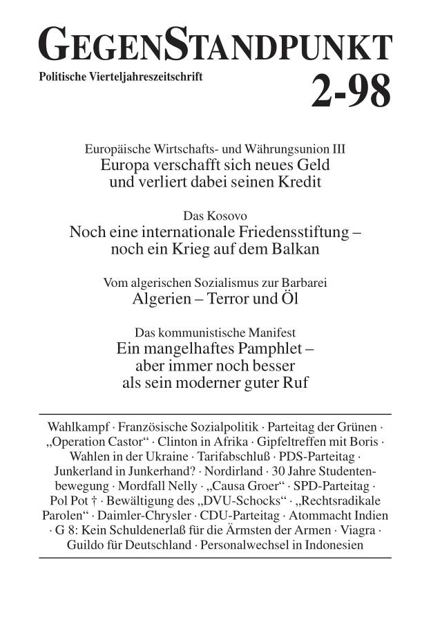 Titelblatt der Zeitschrift GegenStandpunkt 110