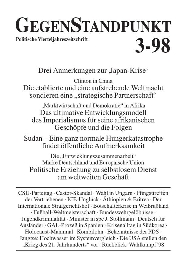 Titelblatt der Zeitschrift GegenStandpunkt 109