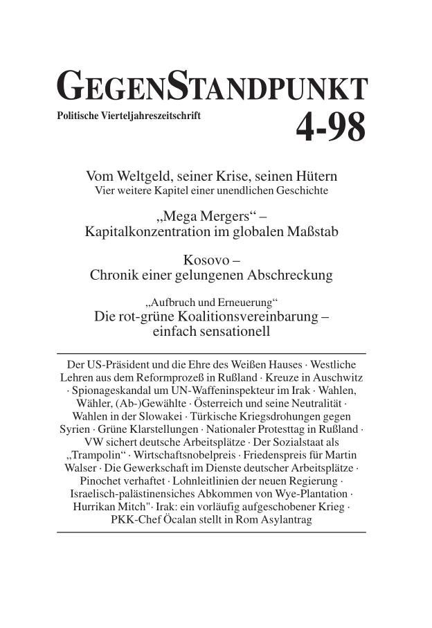 Titelblatt der Zeitschrift GegenStandpunkt 108