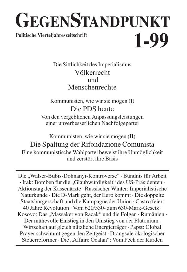 Titelblatt der Zeitschrift GegenStandpunkt 107