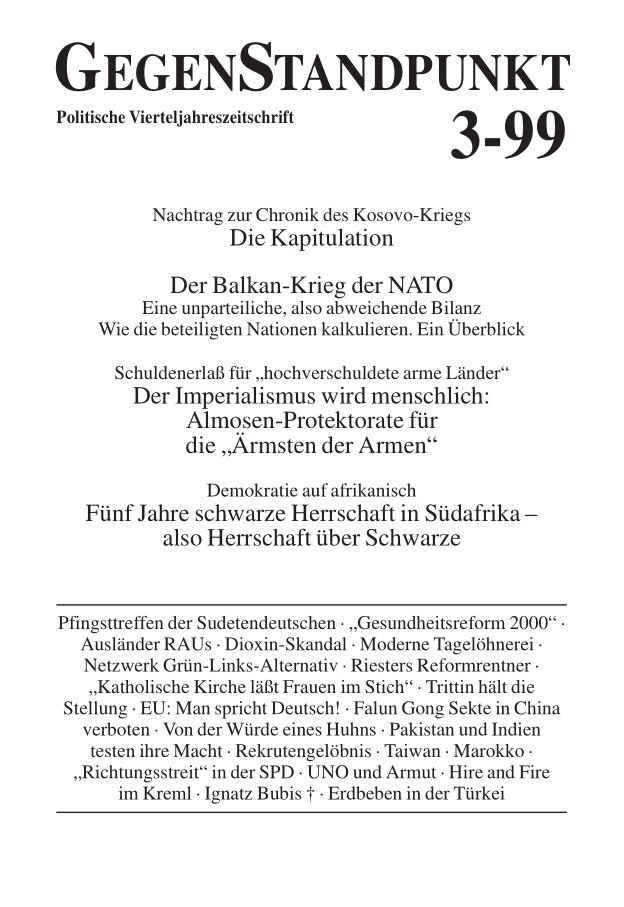 Titelblatt der Zeitschrift GegenStandpunkt 105