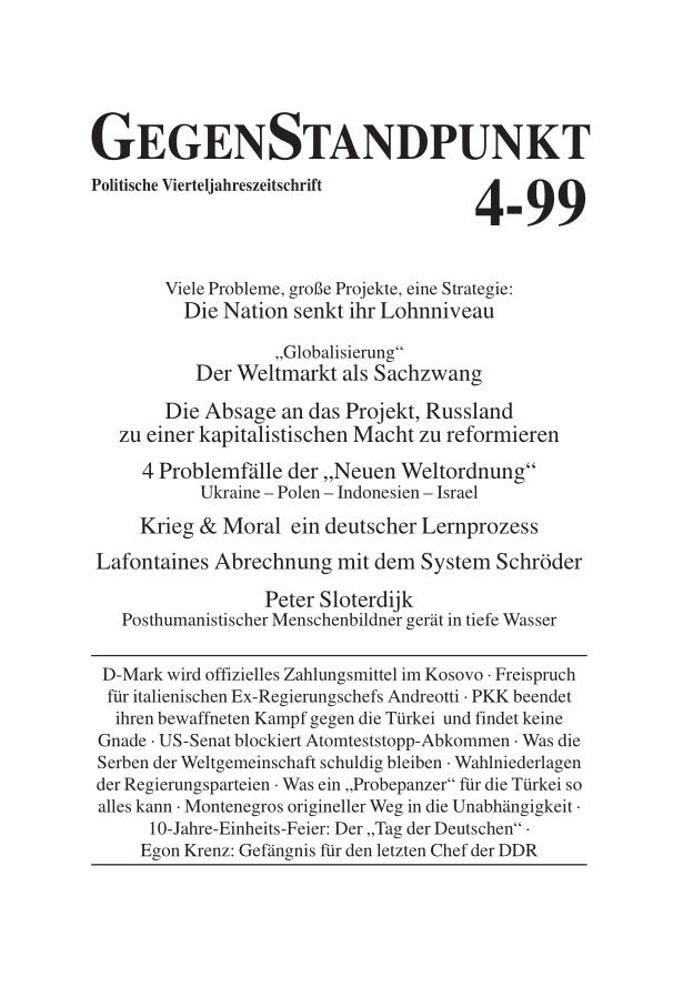 Titelblatt der Zeitschrift GegenStandpunkt 104