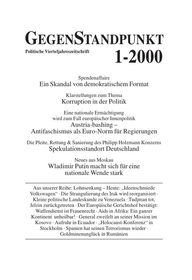 Titelblatt der Zeitschrift GegenStandpunkt 103