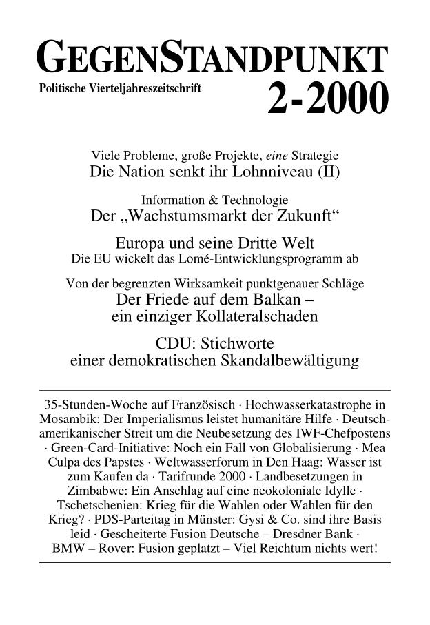 Titelblatt der Zeitschrift GegenStandpunkt 102