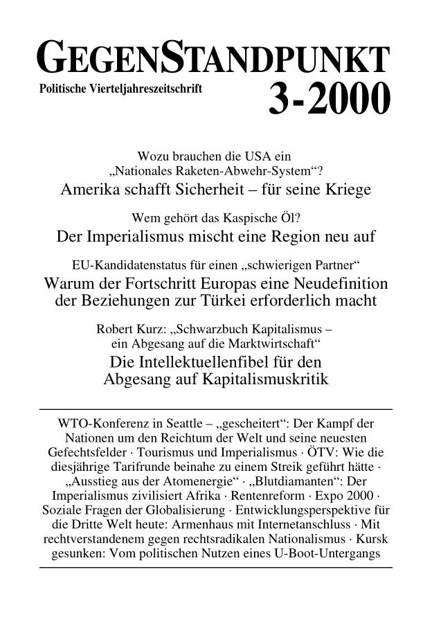 Titelblatt der Zeitschrift GegenStandpunkt 101