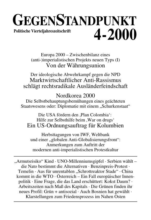 Titelblatt der Zeitschrift GegenStandpunkt 100