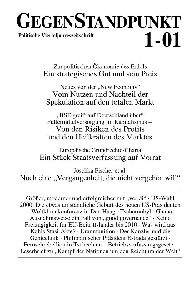 Titelblatt der Zeitschrift GegenStandpunkt 1-01