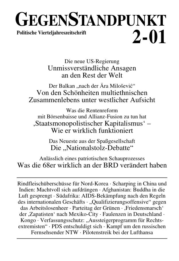 Titelblatt der Zeitschrift GegenStandpunkt 2-01