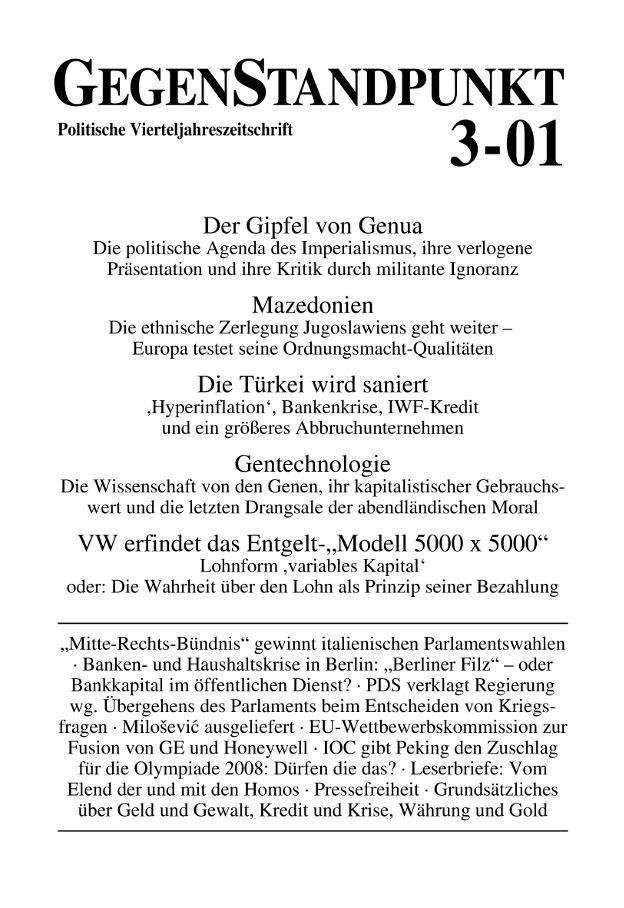 Titelblatt der Zeitschrift GegenStandpunkt 3-01