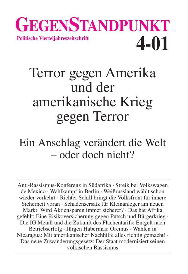 Titelblatt der Zeitschrift GegenStandpunkt 4-01