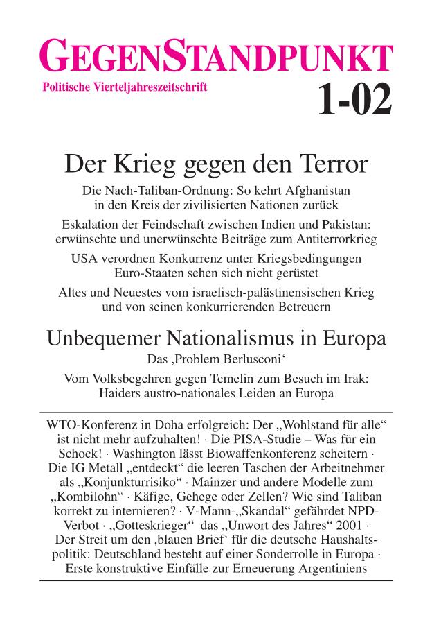 Titelblatt der Zeitschrift GegenStandpunkt 1-02