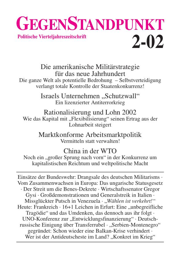 Titelblatt der Zeitschrift GegenStandpunkt 2-02