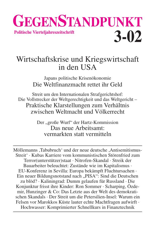 Titelblatt der Zeitschrift GegenStandpunkt 3-02