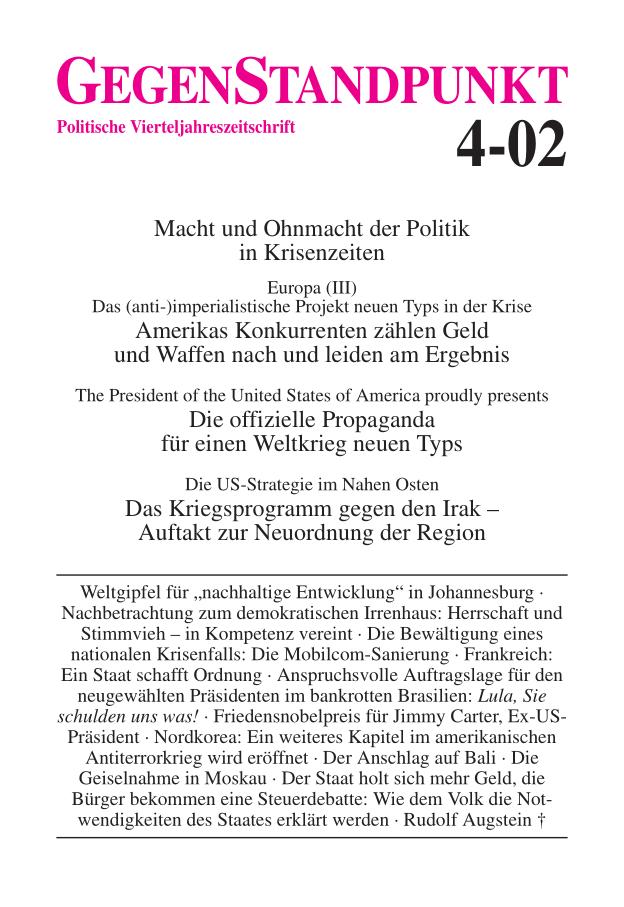 Titelblatt der Zeitschrift GegenStandpunkt 4-02