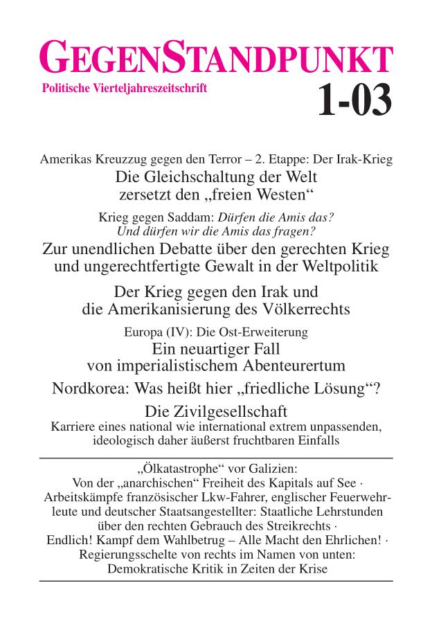 Titelblatt der Zeitschrift GegenStandpunkt 1-03