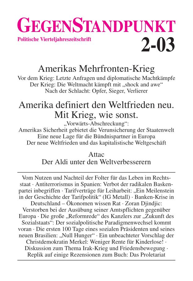 Titelblatt der Zeitschrift GegenStandpunkt 2-03