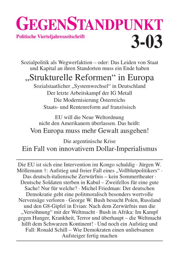 Titelblatt der Zeitschrift GegenStandpunkt 3-03