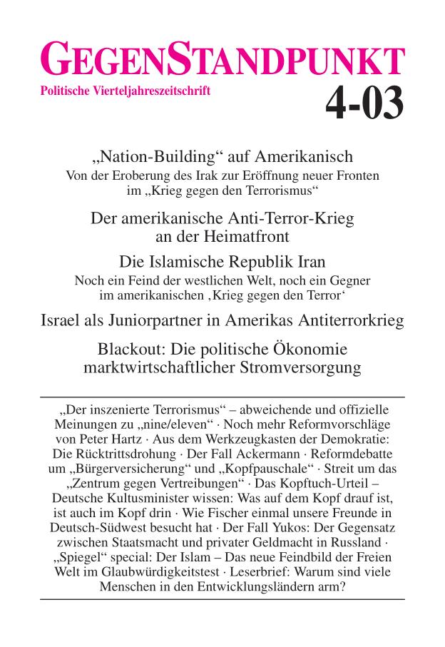 Titelblatt der Zeitschrift GegenStandpunkt 4-03