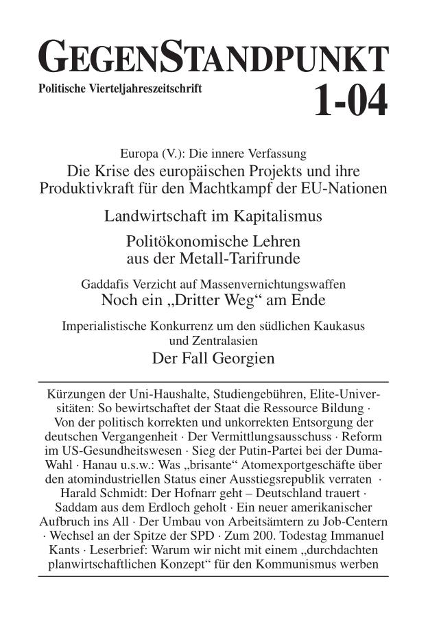 Titelblatt der Zeitschrift GegenStandpunkt 1-04