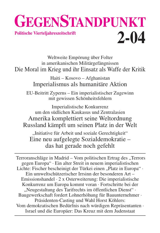 Titelblatt der Zeitschrift GegenStandpunkt 2-04