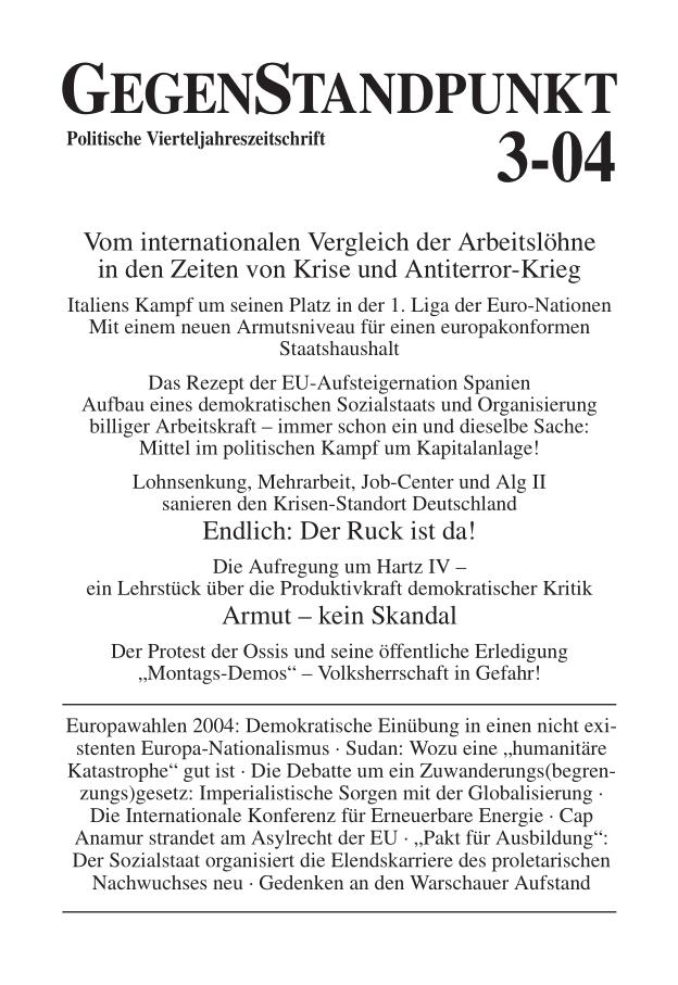 Titelblatt der Zeitschrift GegenStandpunkt 3-04