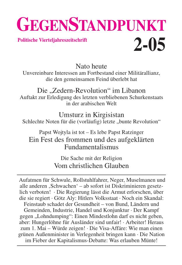 Titelblatt der Zeitschrift GegenStandpunkt 2-05