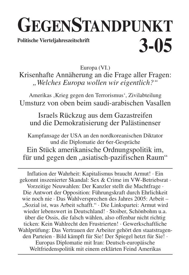 Titelblatt der Zeitschrift GegenStandpunkt 3-05