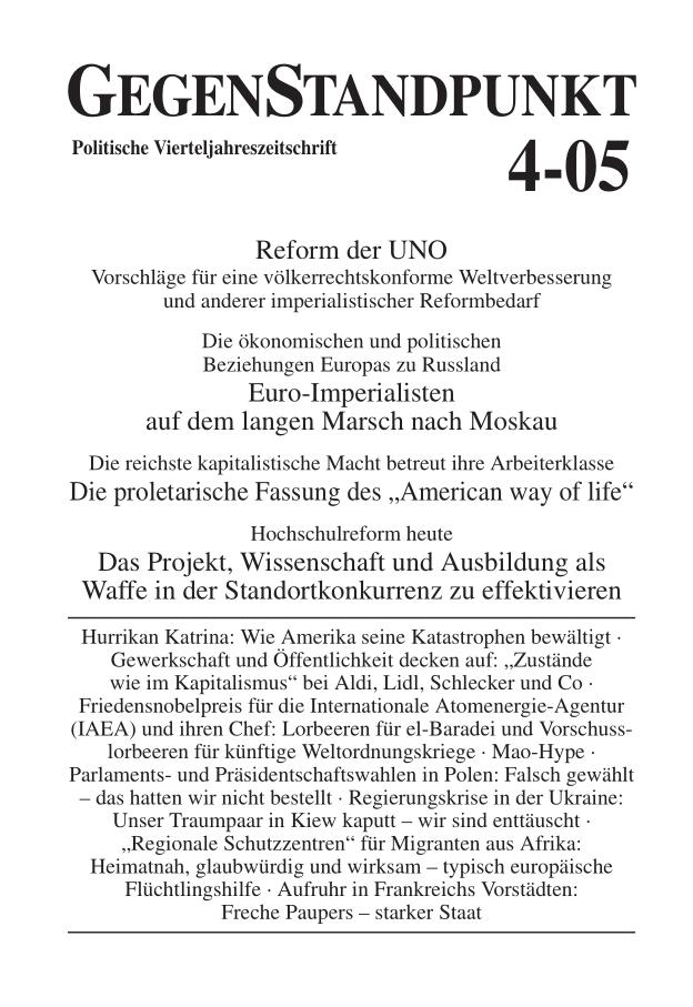 Titelblatt der Zeitschrift GegenStandpunkt 4-05