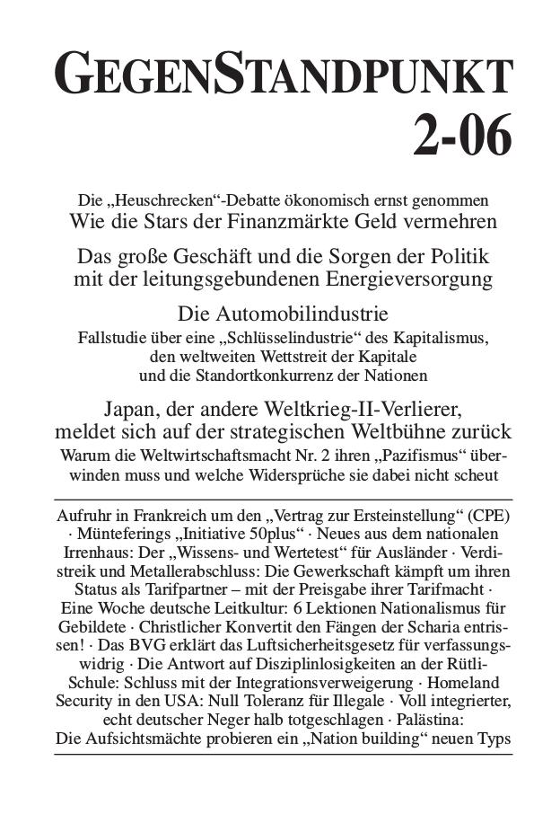 Titelblatt der Zeitschrift GegenStandpunkt 2-06